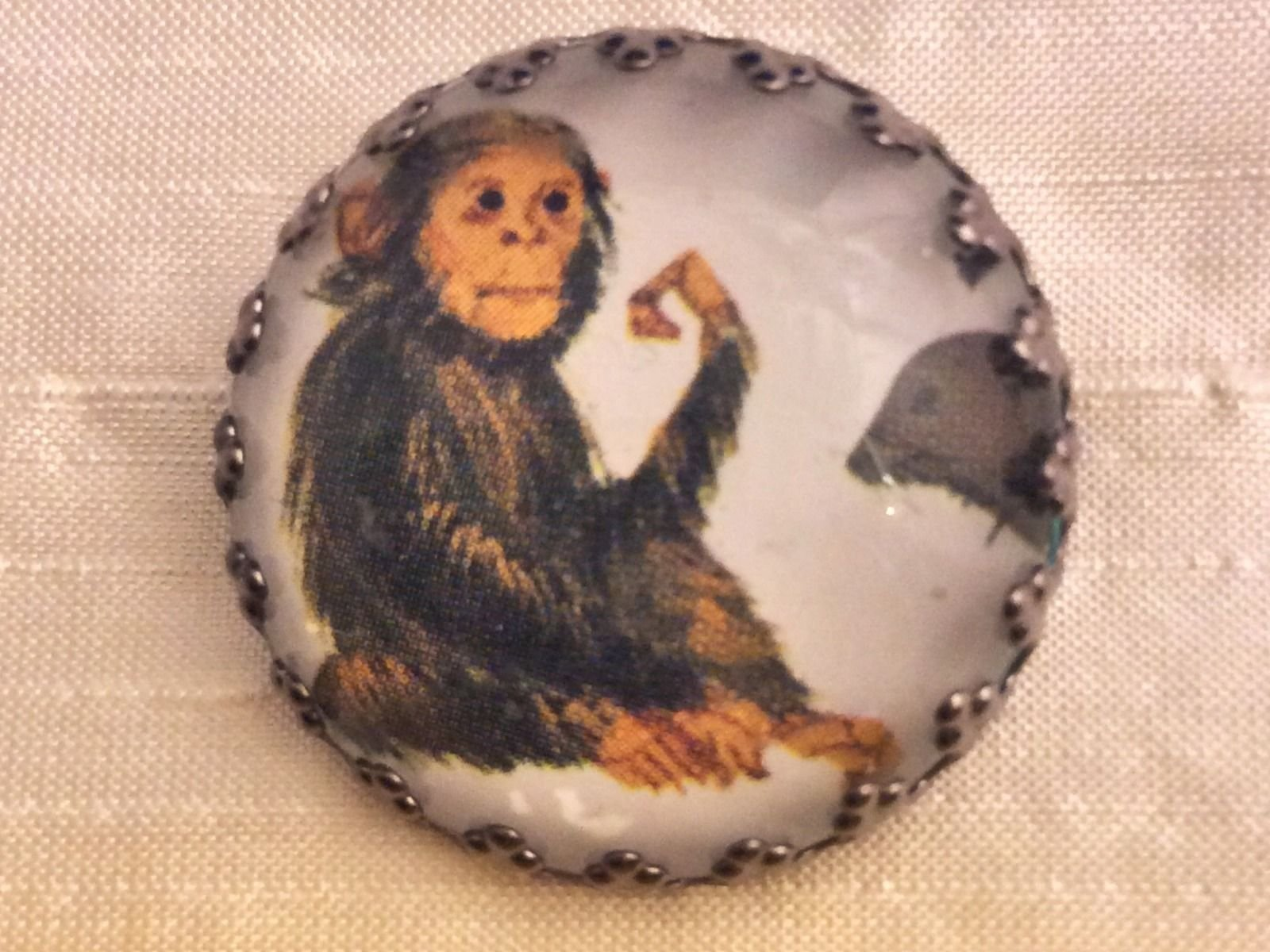 Charley Harper Monkey Chimp 1 Glass Sewing Button Mid Century Mod Charles CH216