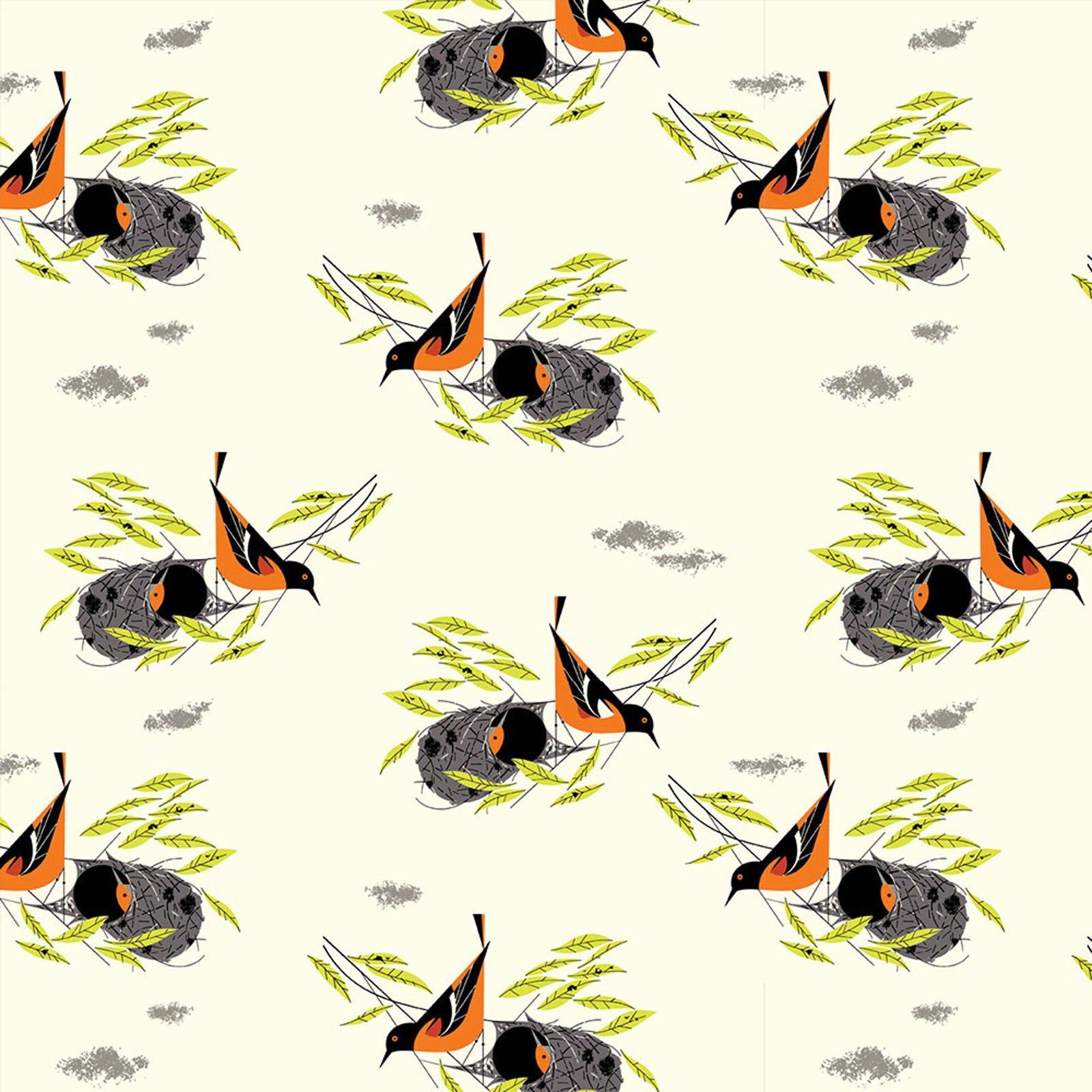 Charley Harper  Bird Architects Oriole Organic Cotton Quilt Fabric CHB68