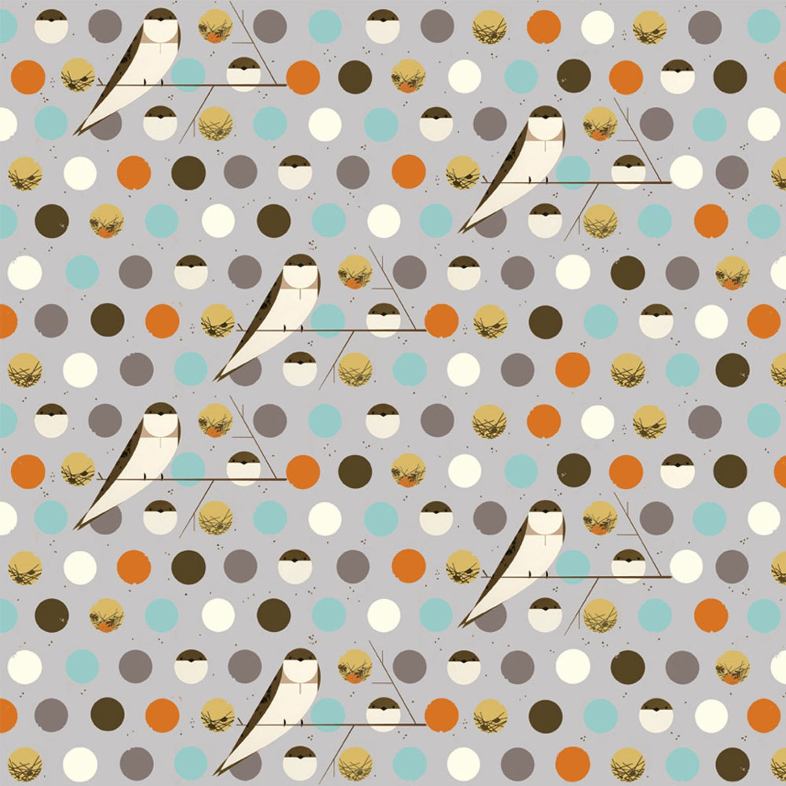 COMING SOON! Charley Harper  Bird Architects Owl Organic Cotton Quilt Fabric