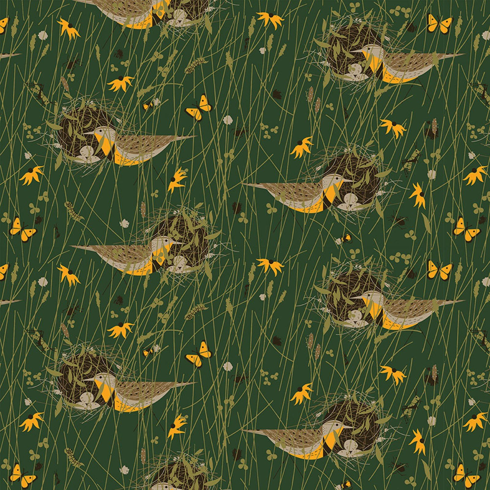 Charley Harper  Bird Architects Songbird Organic Cotton Quilt Fabric CHB75