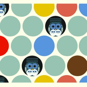 Out of Print! Charley Harper Canvas Family Owlburn Owls Dots Organic Canvas Cotton Fabric CHB22