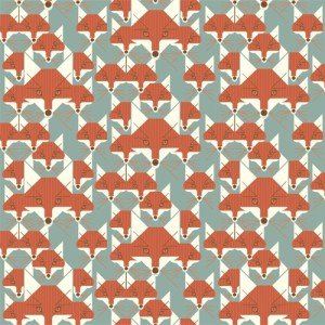 Out of Print! Charley Harper CANVAS Fox Similies Foxes Nature Organic Canvas Cotton Fabric CHB23