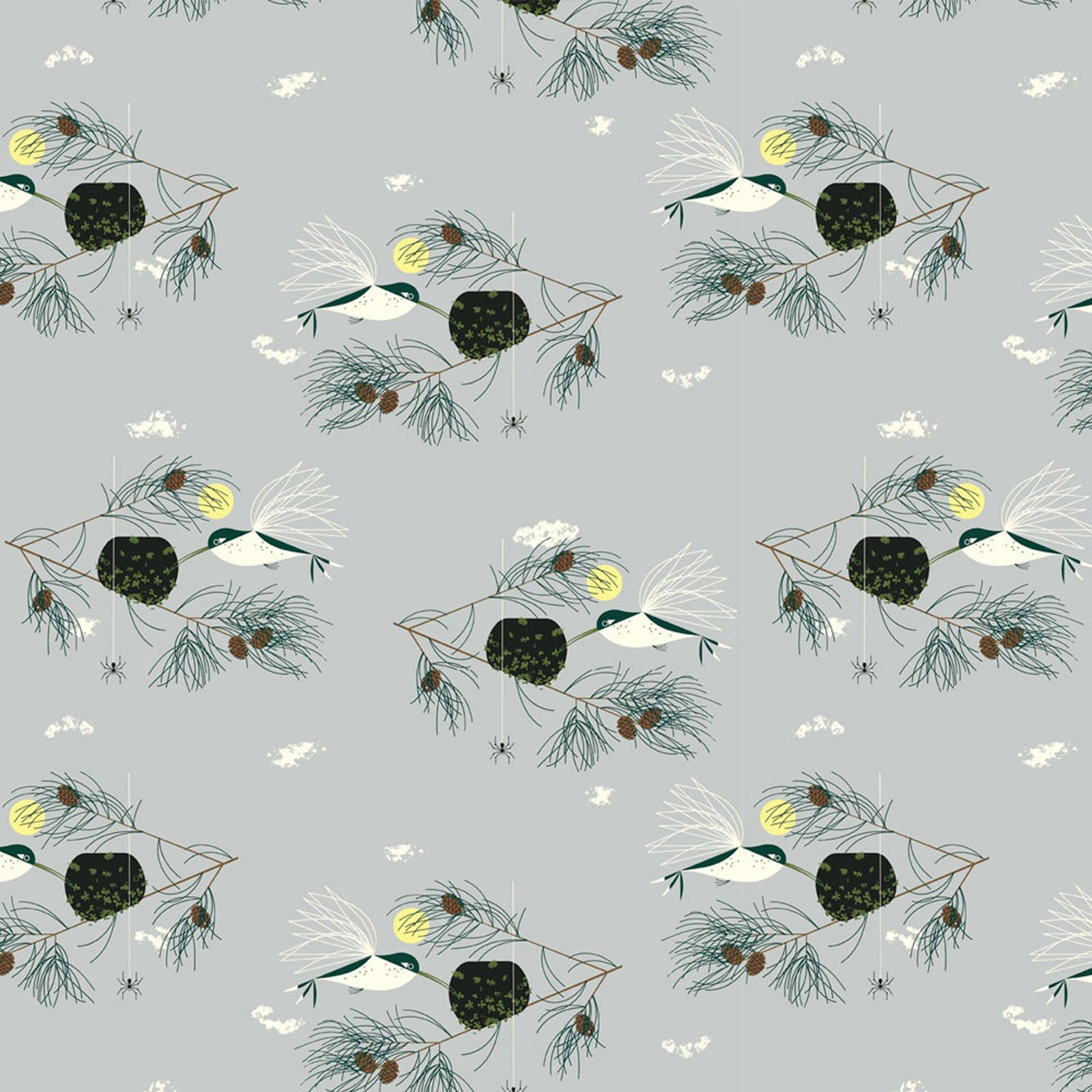 Charley Harper  Bird Architects Hummingbird Organic Cotton Quilt Fabric CHB71