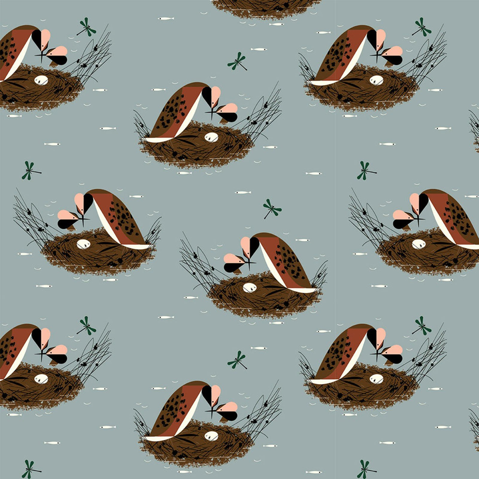 Charley Harper  Bird Architects Songbird Organic Cotton Quilt Fabric  CHB72