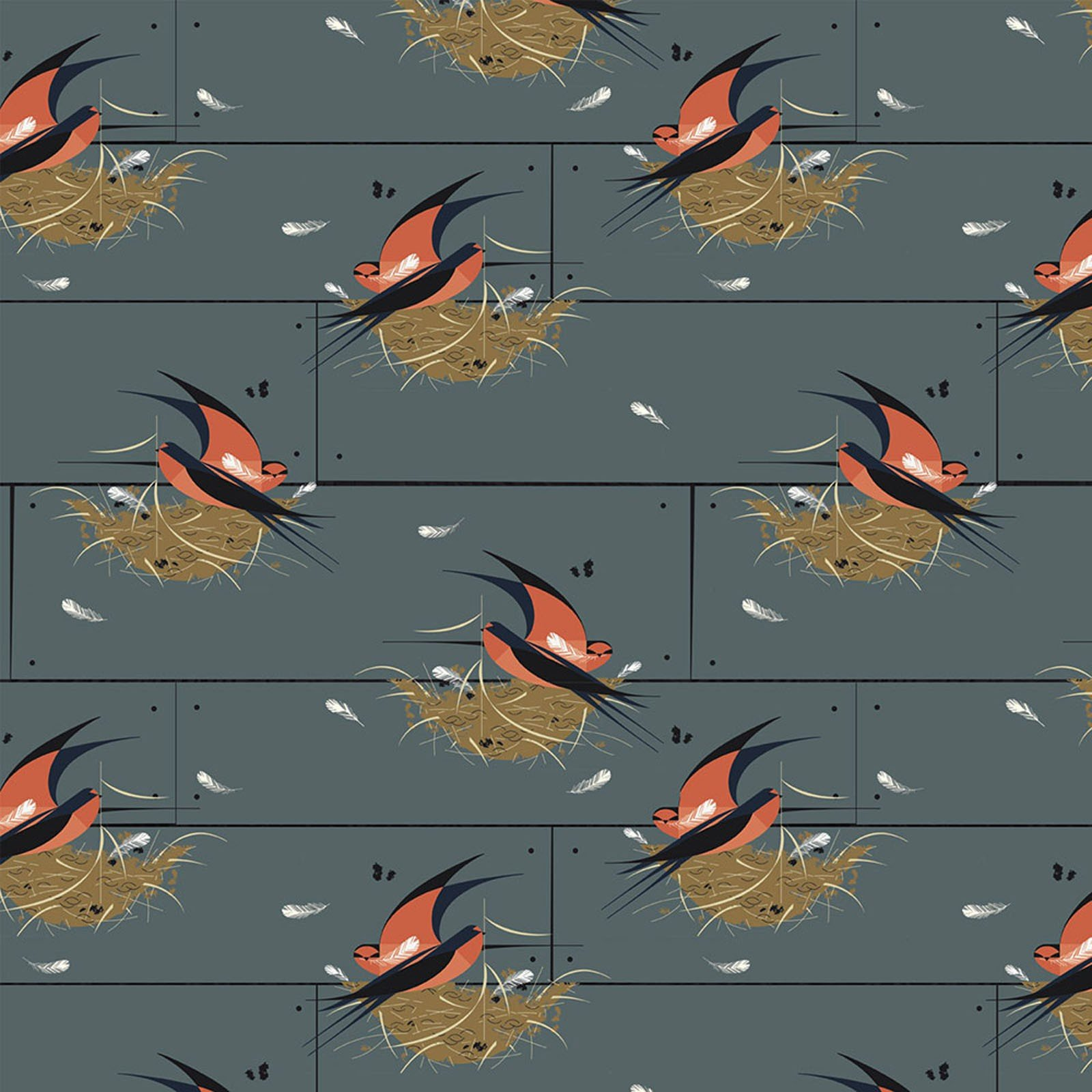 COMING SOON! Charley Harper  Bird Architects Wren Organic Cotton Quilt Fabric