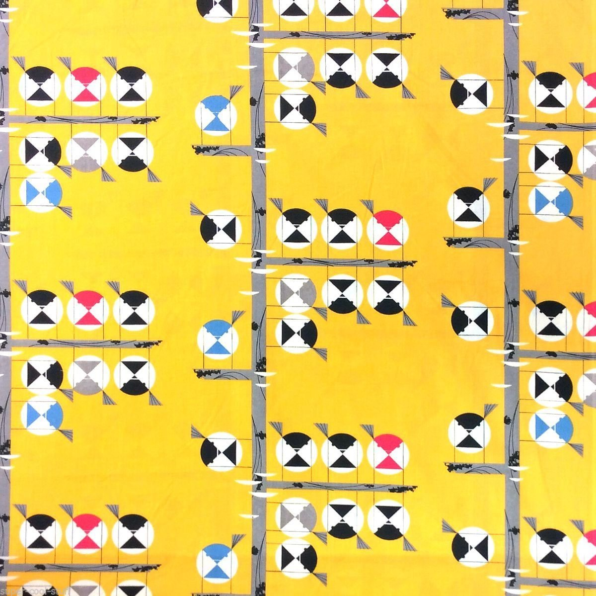Charley Harper Family of Chickadees MCM Mid Century Modernism Abstract Organic Quilting Cotton Fabric CHB27