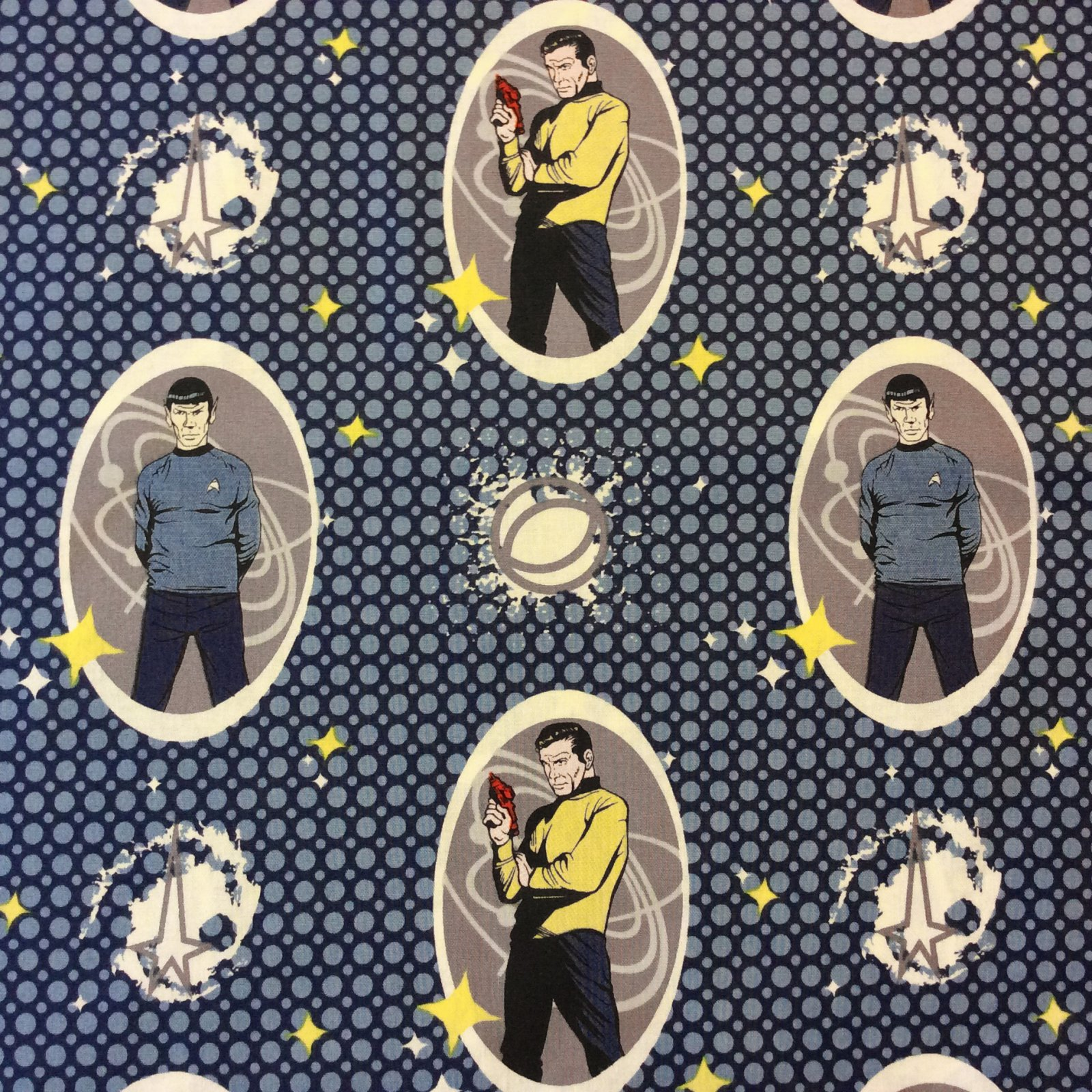 Star Trek Space USS Enterprise Krik Spock Sci-Fi Science Fiction Geek Nerd Television Show TV Stars Cotton Quilt Fabric CHE008