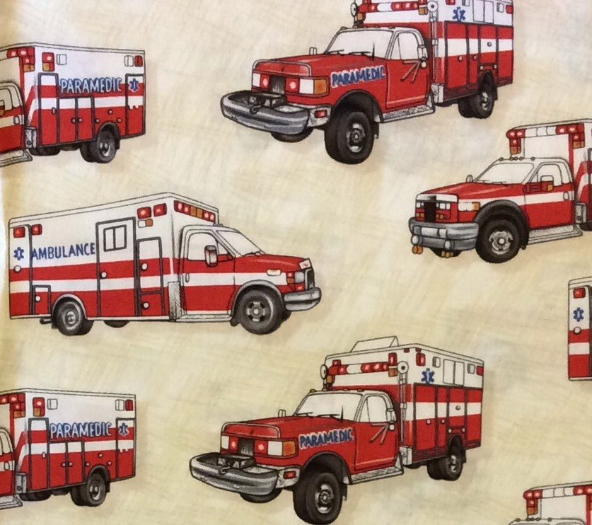 EMERGENCY! Ambulance Hospital Paramedic Medical Emergency Police Fire EMS Cotton Quilt Fabric CL16