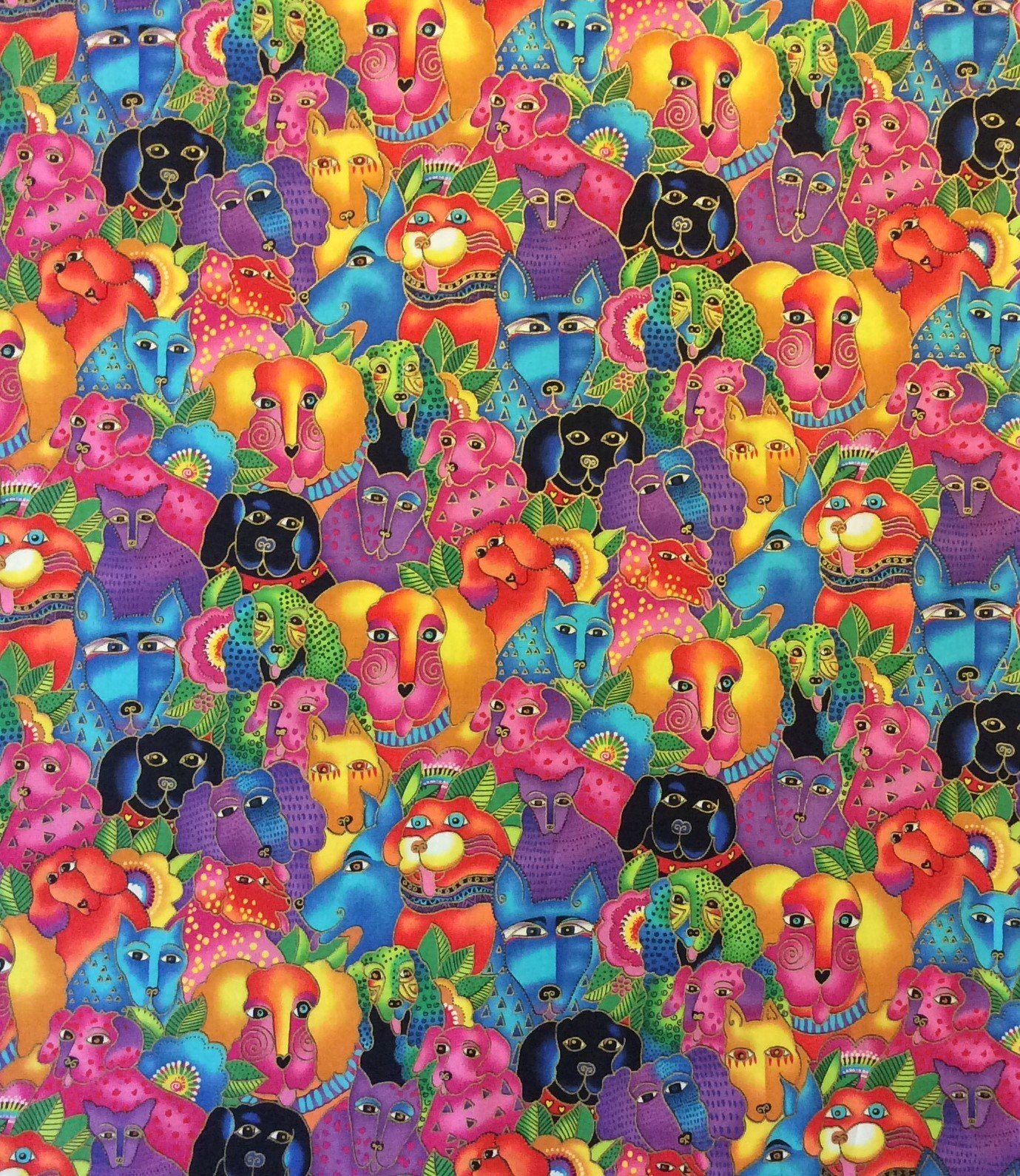 Dog Puppies Colorful Psychedelic Painting Watercolor Quilting Cotton Fabric CL19
