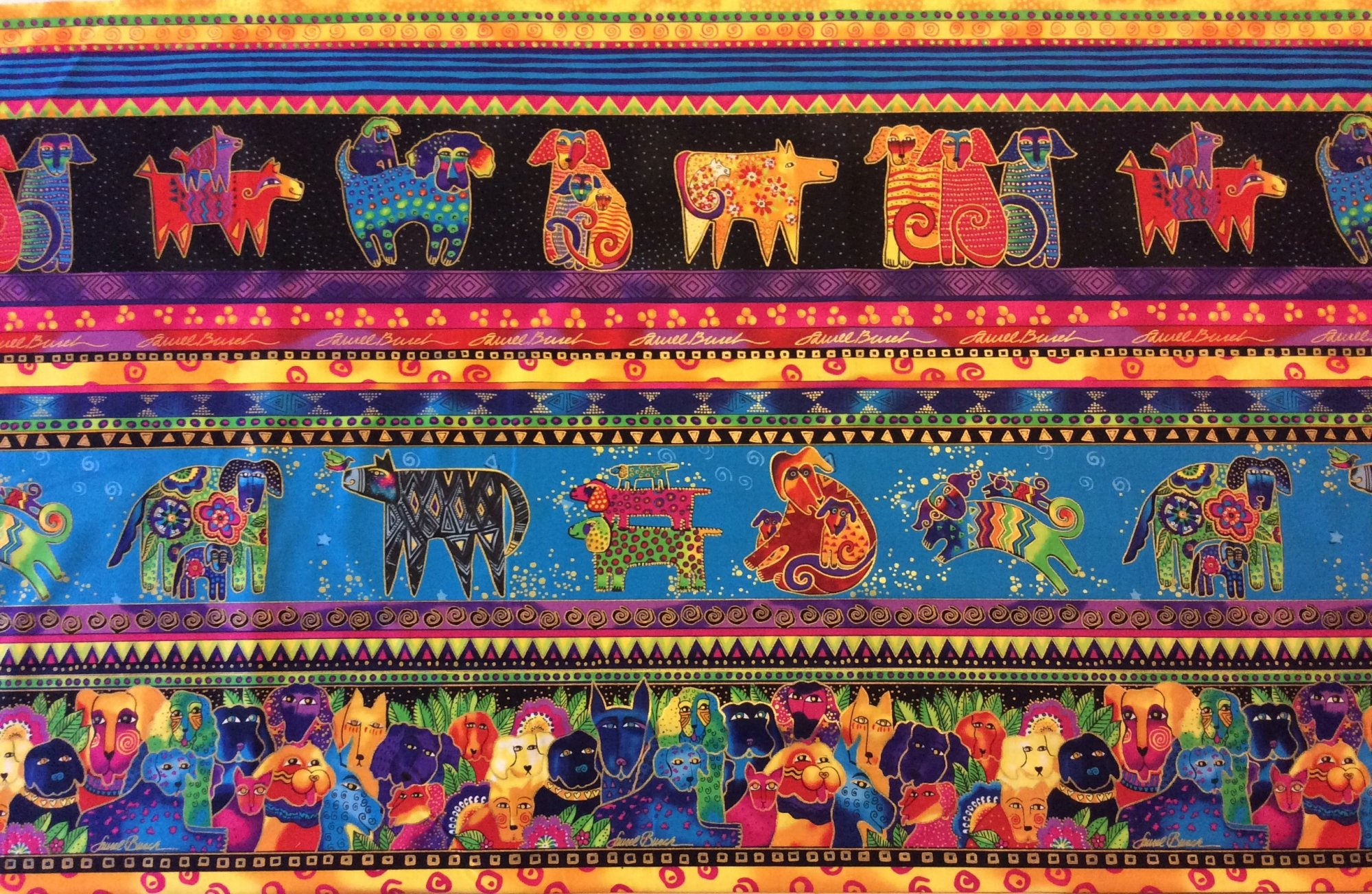 Laurel Burch Dog Puppies Colorful Psychedelic Painting Watercolor Quilting Cotton Fabric CL20