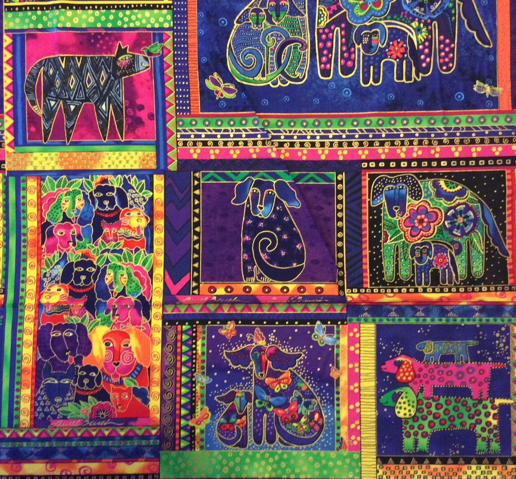 Laurel Burch Dog Puppies Colorful Psychedelic Painting Watercolor PANEL Cotton Quilt Fabric CL21