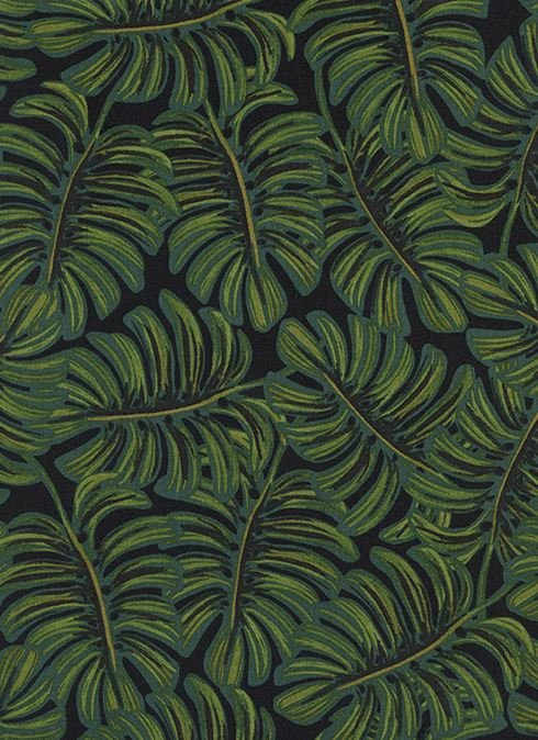 Cotton + Steel Rifle Paper Company Menagerie Monstera Midnight Tropical Leaf Cotton Rayon Lawn Fabric CTN85