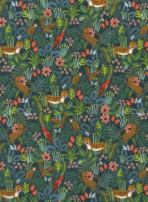 Cotton + Steel Rifle Paper Company Menagerie Jungle Hunter Cotton Linen Canvas Fabric CTN90