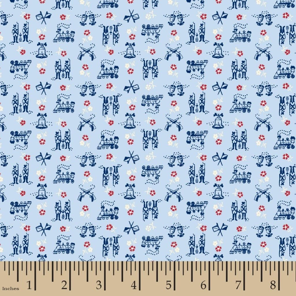 FAT QUARTER! Small Wonders of the World USA Retro Revolutionary War Libery Bell Soldiers Muskets Flags Cotton Quilt Fabric RPFMD381