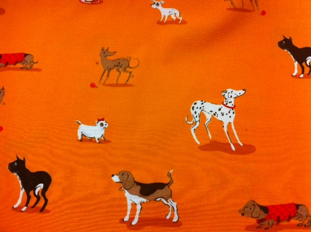 Rare Out of Print Heather Ross Dogs Orange Black Dachshund Dalmatian Beagle mixed dogs Cotton Quilting Fabric Lightning Bugs and other Mysteries CR007