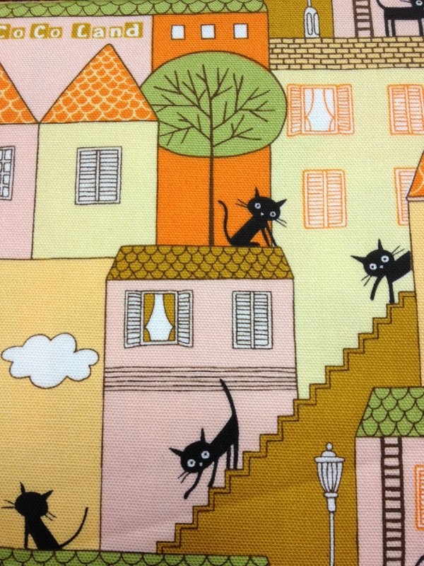 Echino San-X  CoCo Sanrio Kutusita Nyanko Echino Kokka Japanese Asia Kitty Cat Cute Black Kitten Village Cotton Quilting Fabric Orange CR185