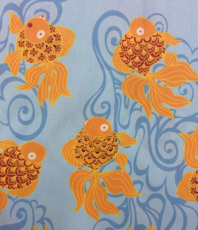Last Piece! Sold by the Piece 60 x 58 Gold Fish Swimming Cute 58 Wide Cotton Fabric Heavier Weight Quilt Fabric CR197