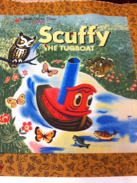 PNL37 CR206 Little Golden Books Skuffy the Tug Boat Book panels Children's Stories Cotton Quilting Fabric PANEL