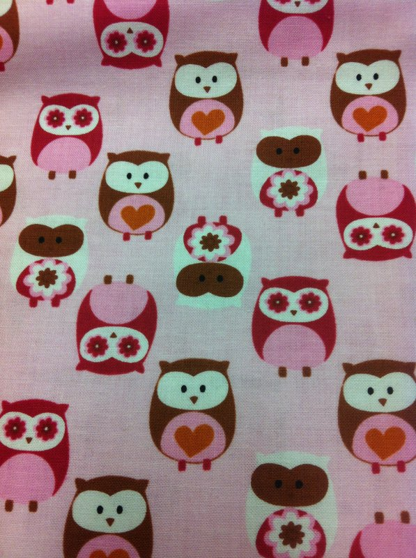 FAT QUARTER! Owls Brown White Pink with hearts and flower eyes  pale pink background Cotton Quilting Fabric RPFCR215