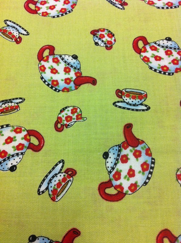 Mary Engelbreit  Teapots Teacups Tea Time Green Cream White Cotton Quilting Fabric RPC279