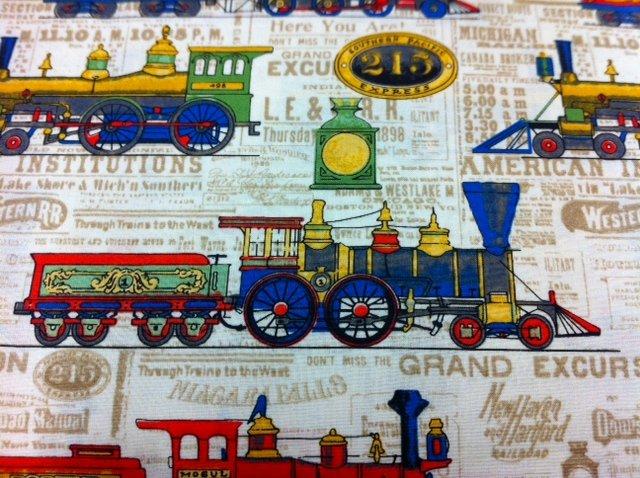 Vintage Trains Train Track Children's Toy Cream Red Black Cotton Quilting Fabric CR242