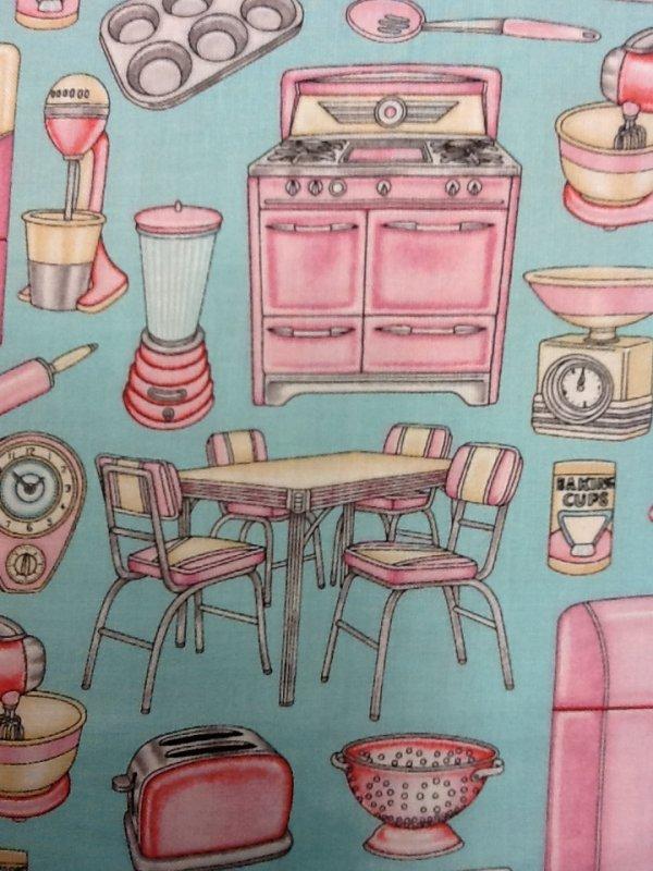 Retro Pink Kitchen Appliances Kitschy Vintage On Aqua Background Cotton Quilting Fabric Cr243