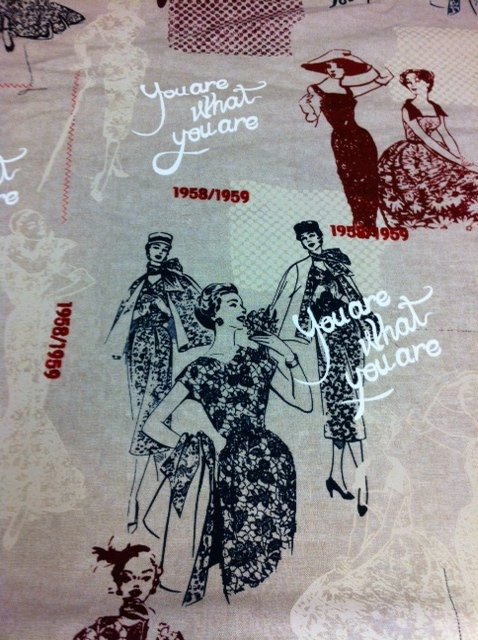 French Fashion Women ecru black navy and rust Ladies Fashion Retro Vintage Cotton Quilting Fabric CR245