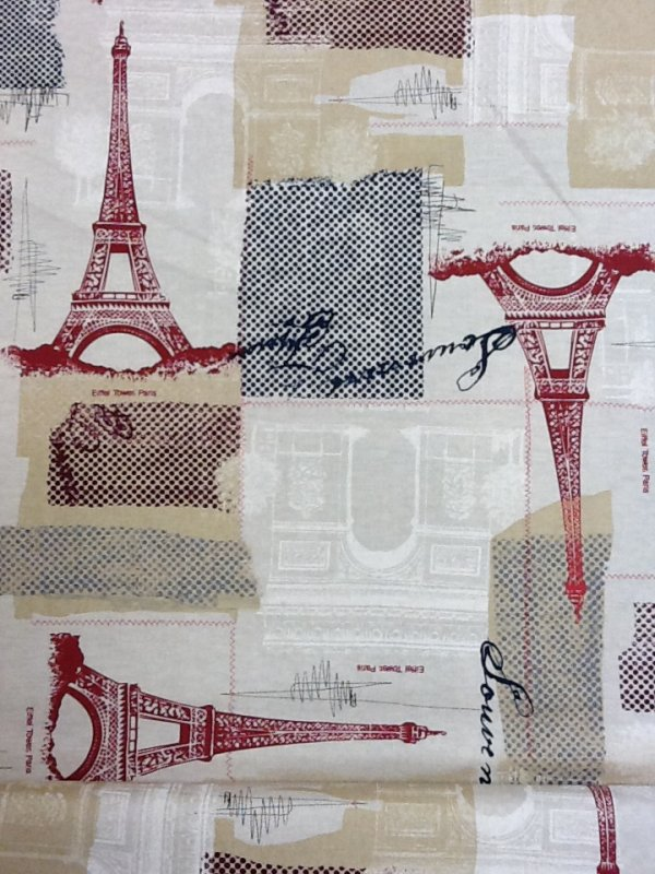 Red Eiffel Tower France Collage with Navy Grey and Red Polka Dots Cotton Quilting Fabric TT84