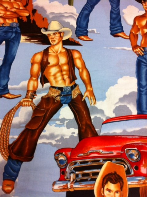 LAST PIECE! 27 X 44 Wild West Sexy Cowboy Pin Up Cowboys Ranch Wranglers Truck Blue Red Sky Blue Version Cotton Quilt Fabric PCAH258