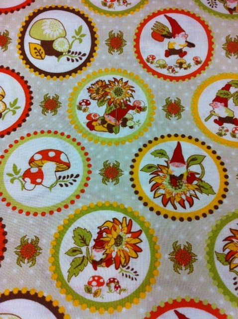 Retro Working Gnomes Mushrooms Toadstool Forest Friends Cotton Fabric Quilting Fabric CR298