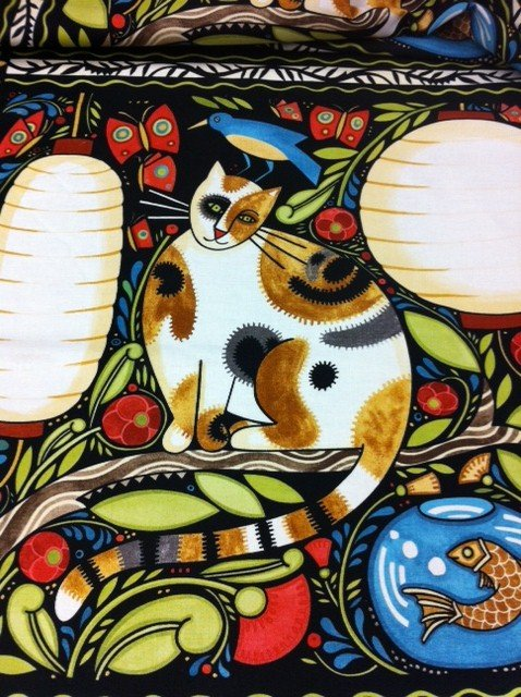 Julie Paschkis Folk Art Cats PNL07  Forest Fish Nature Kittens Cotton Fabric Quilting Fabric CR310