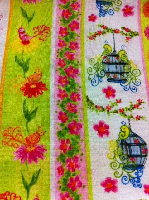 Bird Floral Stripe Birdcages Flowers Cheery Bright Colors Cotton Fabric Quilting Fabric CR315