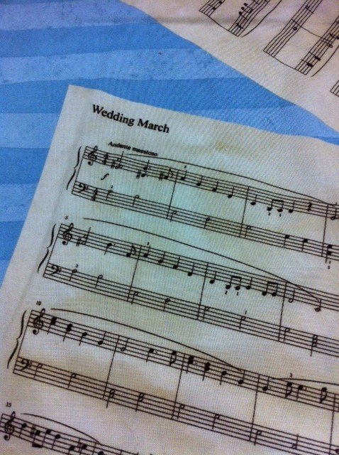 Wedding March Blue Mendelssohn's Wedding March Music Notes Cotton Fabric Quilting Fabric CR316