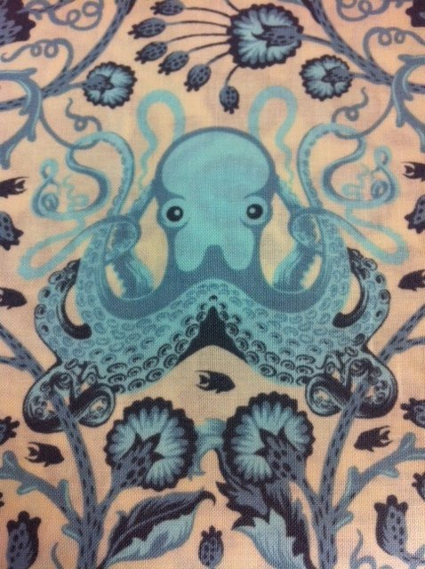 Tula pink octo garden octopus anchor flowers cotton fabric for Fishing themed fabric