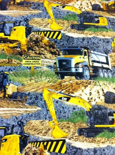 Caterpillar CAT Construction Vehicles Dump trucks  Excavators Backhoes Graders Cotton Fabric Quilt Fabric CR505