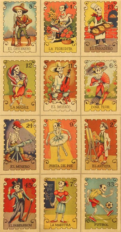 Cartas Marcadas Alexander Henry Tarot Cards Loteria Lottery Mexico Day of the Dead Cotton Quilt Fabric AH158X