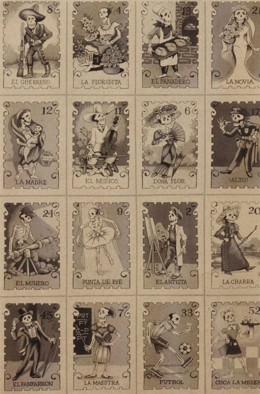 Cartas Marcadas BTY PNL124 Alexander Henry Tarot Cards Cotton Loteria Lottery Day of the Dead Mexico  Fabric Quilt Fabric AH157