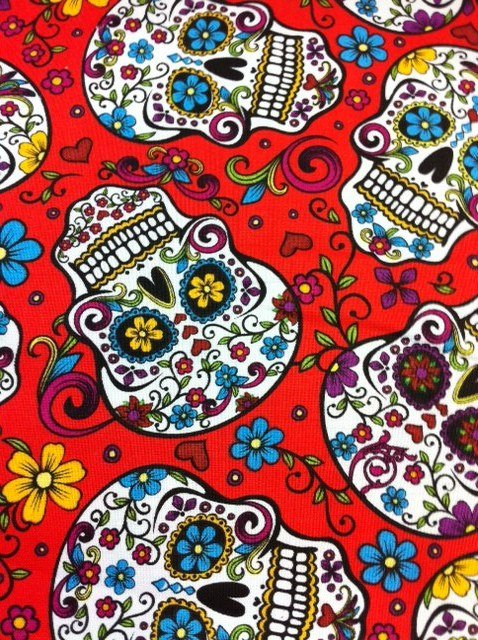 Folkloric Skulls Mexico Sugar Skull Flowers Cotton Fabric Quilt Fabric CR373