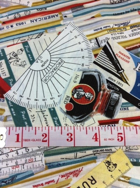 Mathematics Ruler Protractor Drafting Retro Japanese Asian Yuwa  Cotton Quilt Fabric CR380