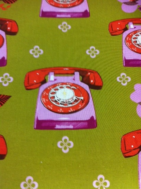 Echino Kokka Groovy Retro Telephone Phone flowers Bold Warhol Asia Pop Art Heavy Cotton Linen Fabric Quilt Fabric CR338