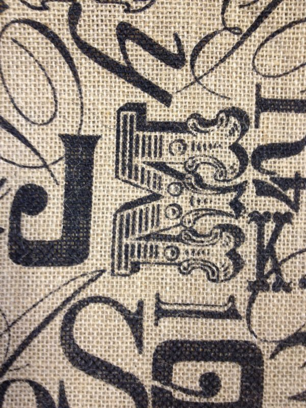 Script Caligraphy Steampunk Printed Burlap Fabric CR396