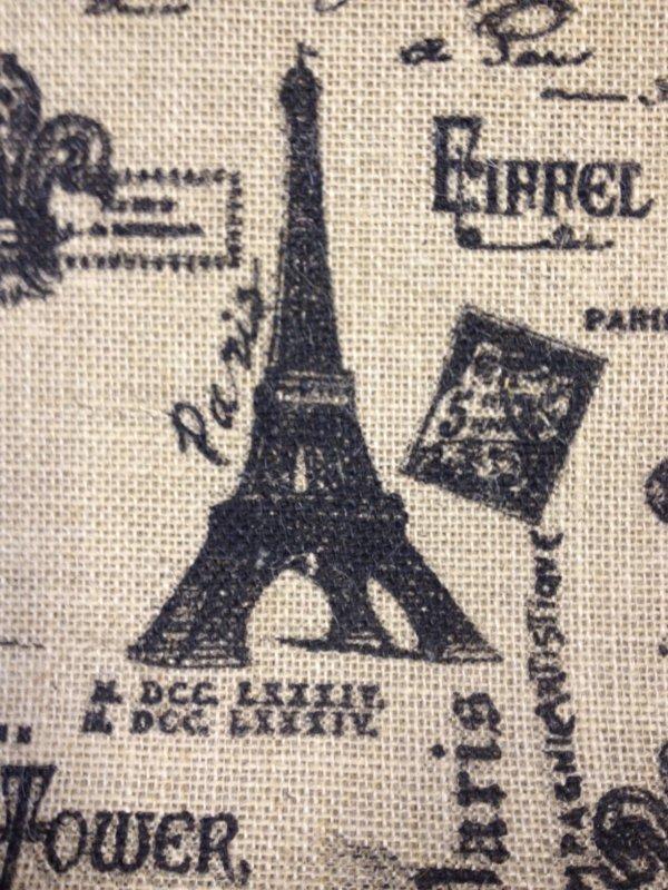 Paris France French Script Steampunk Illustration Burlap Fabric CR397