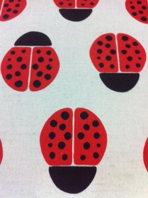 Echino Kokka Jaunty ladybugs on a neutral background Cotton Fabric Quilt Fabric CR339