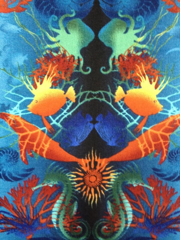 Jason Yenter Return to Atlantis Sea Life Shark Sting Ray Octopus Anemone Urchin Fish Collage Print Cotton Fabric Quilt Fabric CR405