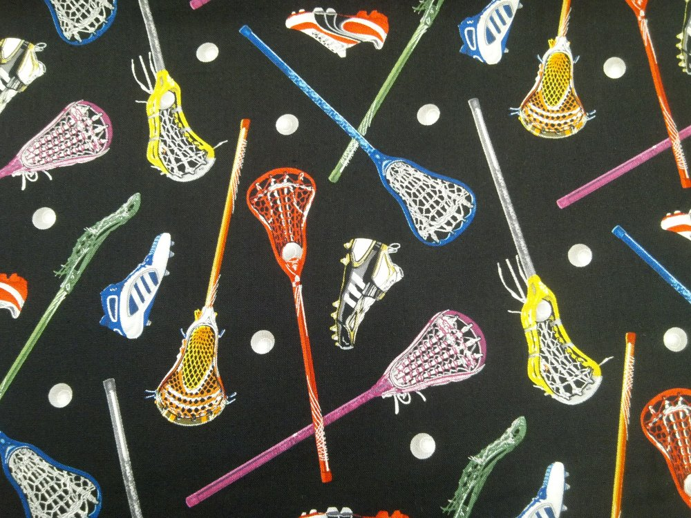 LaCrosse Lax Team Sports Sport Print Cotton Fabric Quilt Fabric CR511