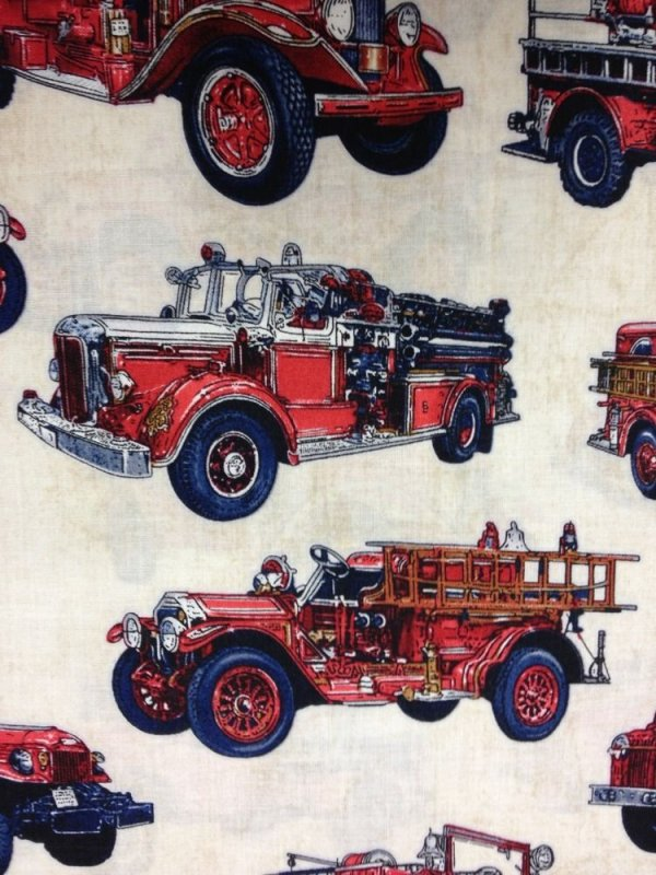 All Fired Up Firetrucks Vintage Cars Cotton Fabric Quilt Fabric CR532