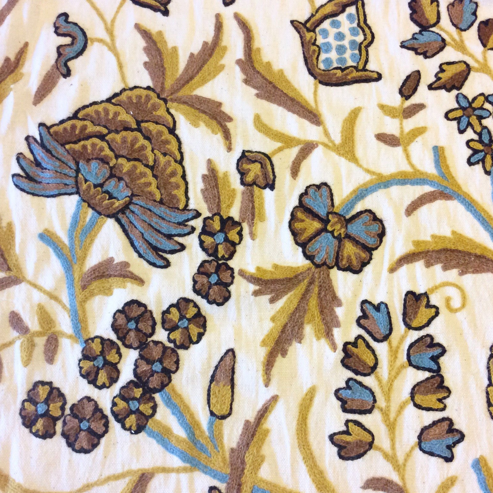 Crewel Exquisite Chainstitch HAND Embroidered Cotton Crewel Floral Home  Decor Fabric NL241
