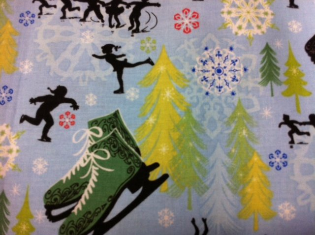 Fat Quarter! Ice Skates Paper Cut Snowflakes Holiday XMAS Cute Pine Tree's Blue Green Cotton Quilting Fabric FQCS226