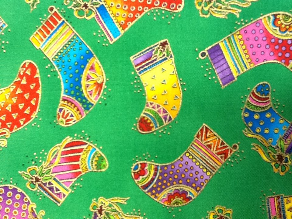Fat Quarter! Laurel Burch Rainbow Holiday Christmas Xmas Stockings with Gold Accents on Green Background Cotton Quilting Fabric PCN43