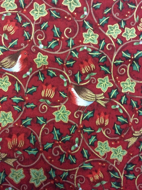 Fat Quarter! Holly Leaves And Berries Birds On Christmas Red Cotton Fabric Quilt Fabric FQCS236